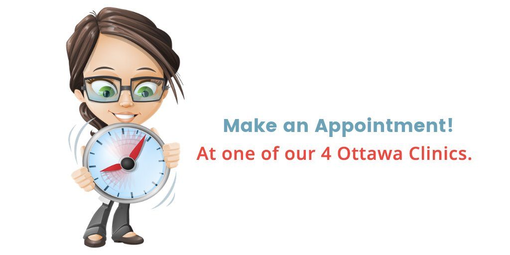 "lice geek technician holding a clock with words ""make an appointment at one of our Ottawa clinic"""